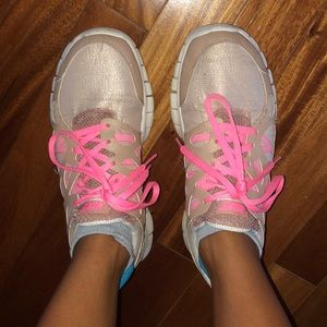 Nike pink tan and gold shimmer running shoes